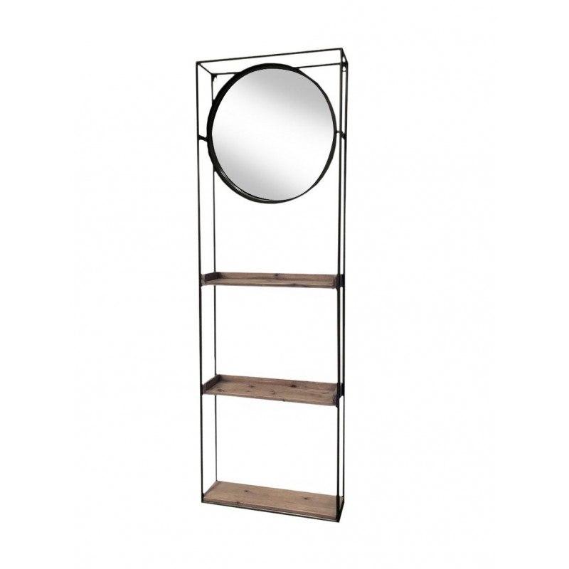 Miroir mural rond et étagère en métal et bois Shelton