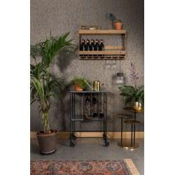 Etagére murale porte bouteilles et verres en bois TRES - Dutchbone
