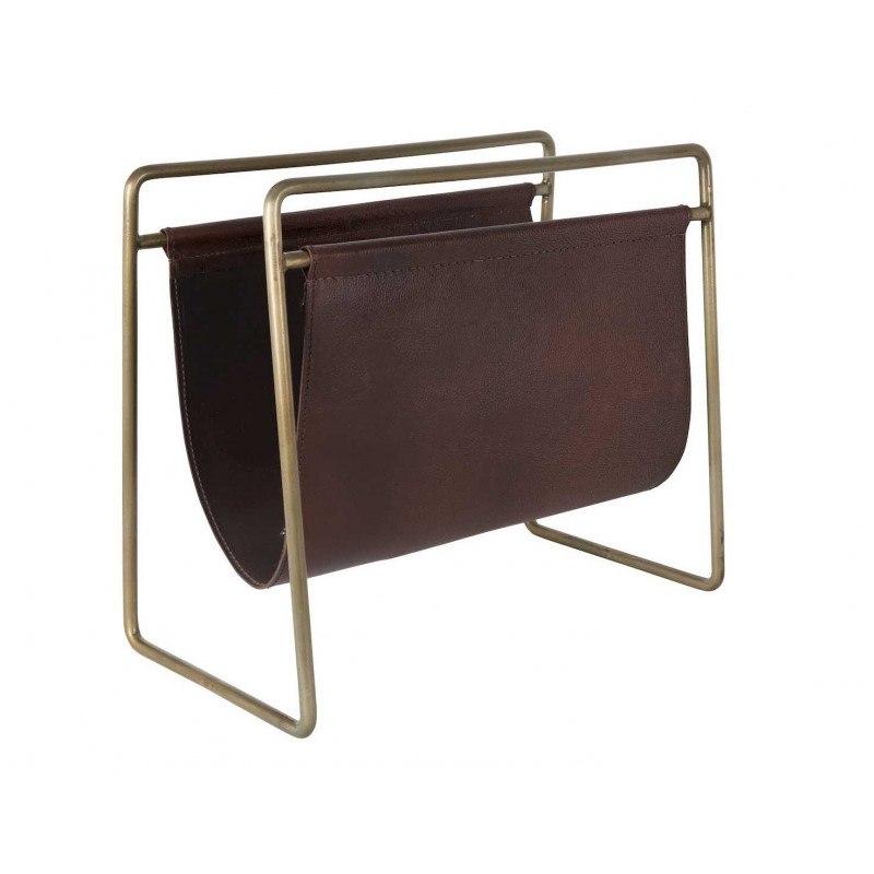 Porte-revues vintage métal cuir SCHOLAR - Dutchbone