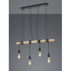 Suspension industrielle 4 lampes tige bois BRODY
