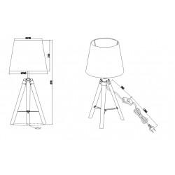 Lampe à poser bois et tissu Trio - TRIPOD