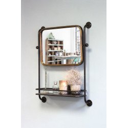 Miroir mural avec étagère en métal style industriel Astoria - Redcartel