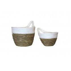 paniers muraux blanc en rotin et jacinthe d'eau - RedCartel