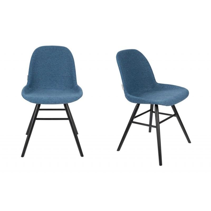Lot deux chaises scandinaves bleues