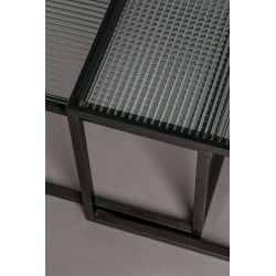 Set de 2 tables basses en verre et métal BOLI - Dutchbone