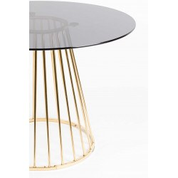 Table de salon ronde 104 cm en métal et verre - FLORIS