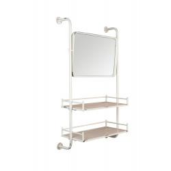 Miroir mural blanc de barbier en métal - Dutchbone