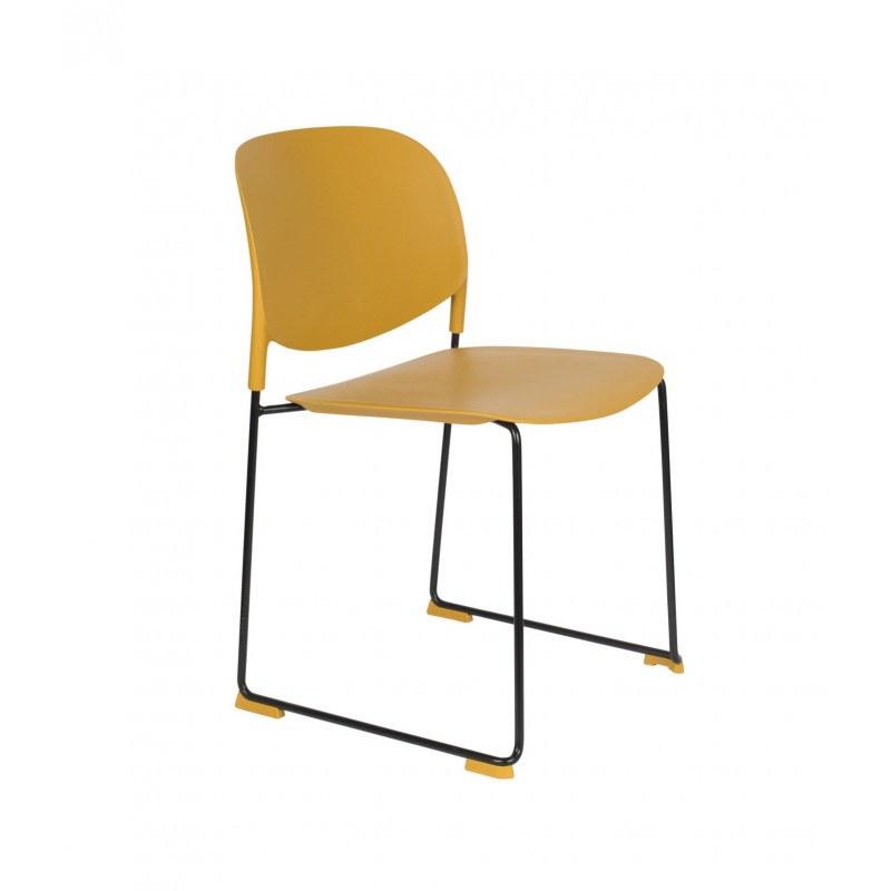 Chaises jaunes design Stacks à pieds luges - lot de 4