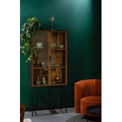 Vitrine en bois recyclé avec portes vitrées BERLIN - Dutchbone