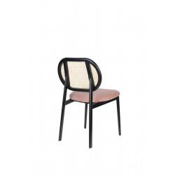 Chaise SPIKE en canne de rotin et assise en tissu rose - Zuiver