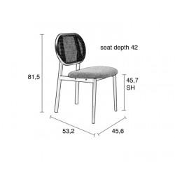 Chaise SPIKE en canne de rotin et assise en tissu - Zuiver