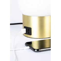 Lampe à poser blanc et or Urban charger usb - Zuiver