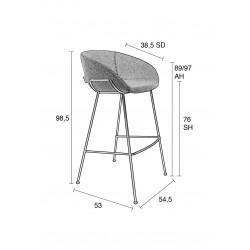 Tabouret de bar confort 76cm Feston - Zuiver