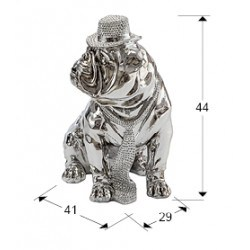 Statue bulldog à chapeau chromé 44 cm - Schuller