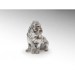 Statue bulldog à chapeau et cravate chromé 30 cm - Schuller