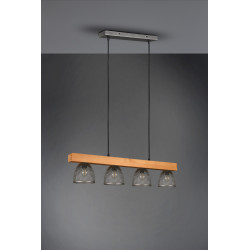 Suspension industrielle bois et métal Cestino 4 lampes en ligne
