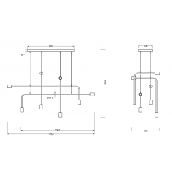 Suspension industrielle CONNOR 8 lampes