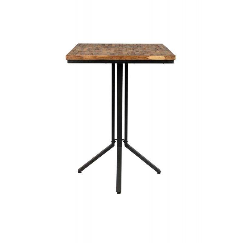 Table de bar bistrot carrée en bois et métal H110 cm - Maze - Boite à design