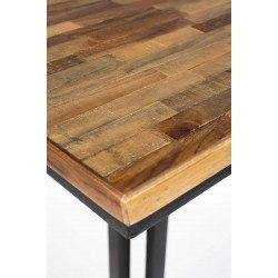 Table de bar bistrot carrée H110 cm en bois et métal - Maze - Boite à design