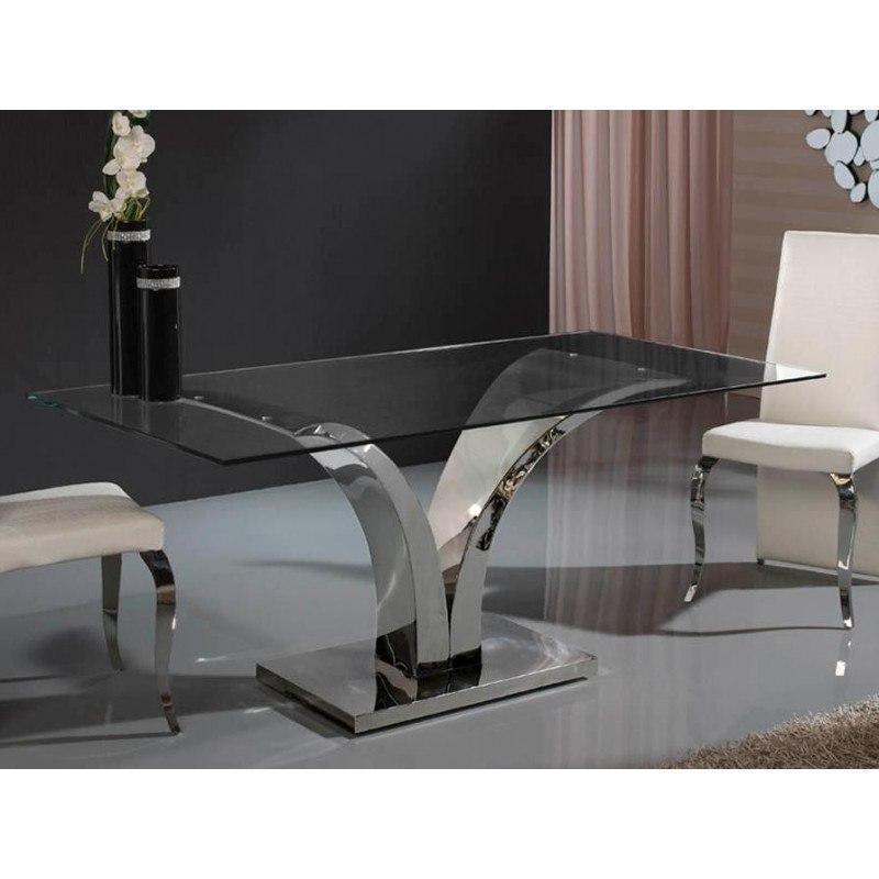 Table design de salle a manger rectangulaire en verre et - Table salle a manger acier ...