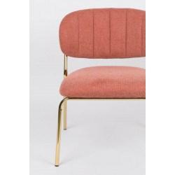 Fauteuil Lounge JOLIEN en tissu et pieds couleur or rose
