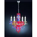 Lustre baroque couleur ou transparent 5 Lampes trio