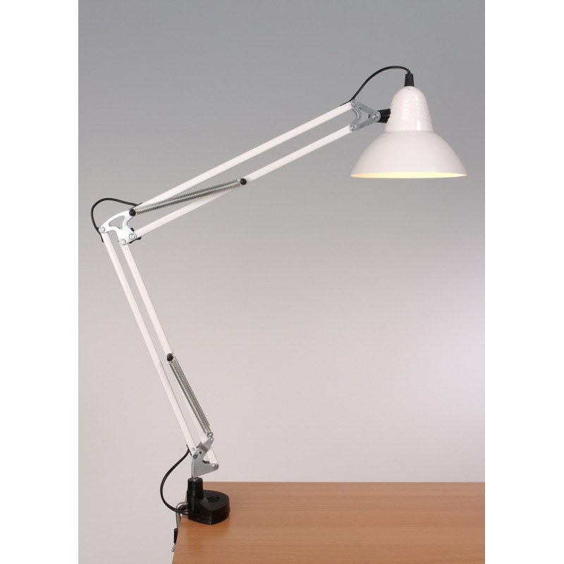 Grande lampe à poser articulée architecte LD95 sur étau Aluminor