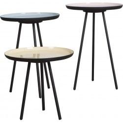3 Tables basses rétro ENAMEL couleurs pastel par Zuiver