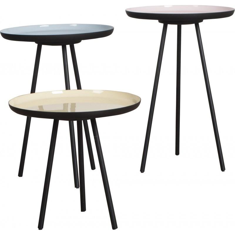 Tables basses enamel en couleurs pastel - design scandinave