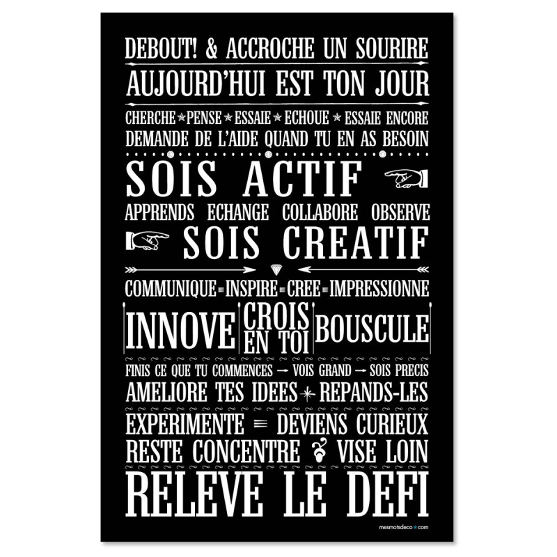 Sticker papier  Relève le Défi - 60-40 cm