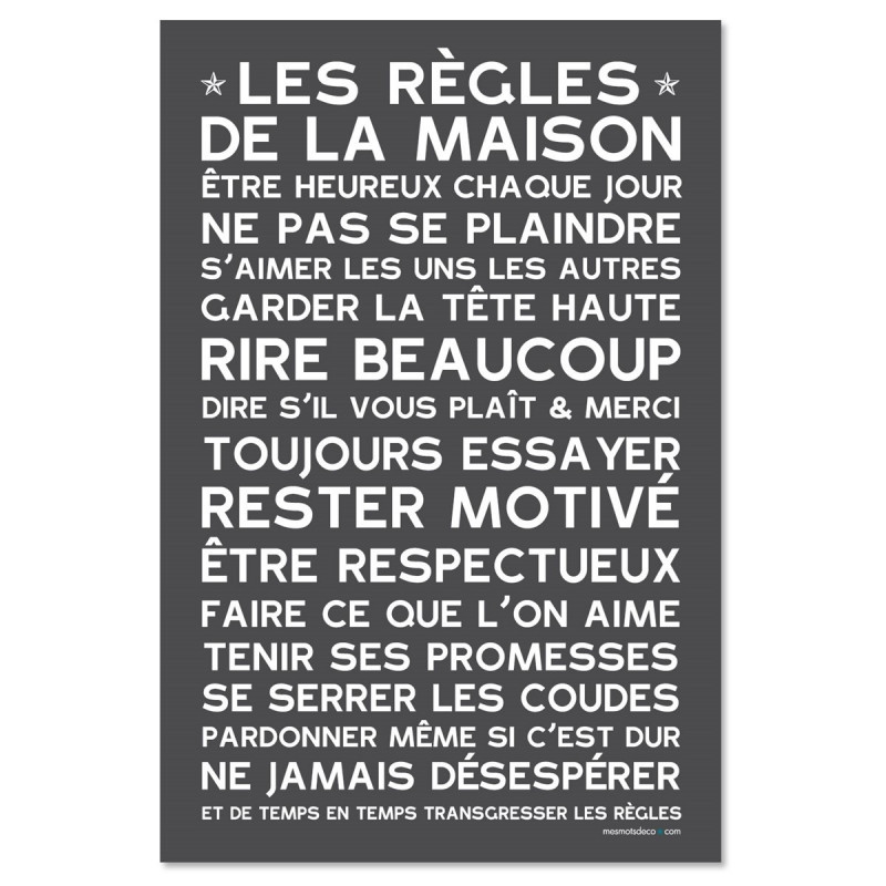Sticker papier  Les Règles de la Maison - 60-40 cm