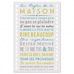 Sticker papier Les Règles de la Maison - Gris - 45-30 cm