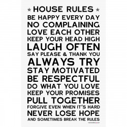 Sticker papier 45-30 cm House Rules