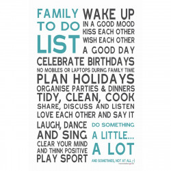 Sticker papier 45-30 cm Family To Do List