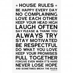 Sticker papier 60-40 cm House Rules