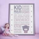 Poster à encadrer Kid Rules - Kokeshi -  40-50 cm
