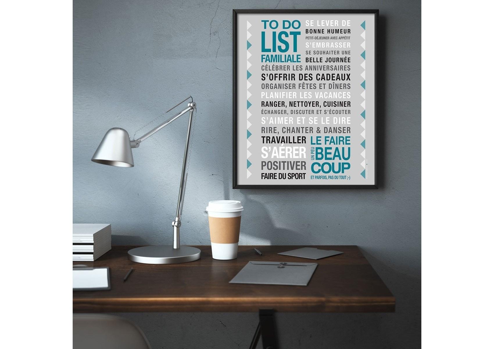 poster encadrer to do list gris 40 50 cm. Black Bedroom Furniture Sets. Home Design Ideas