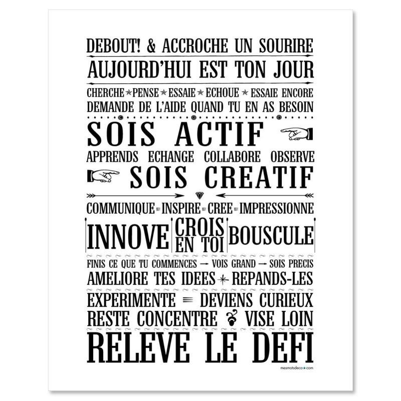 Poster à encadrer Relève le Défi - Chalkboard - 40-50 cm