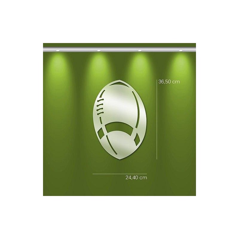 Miroir ballon de rugby design en acrylique