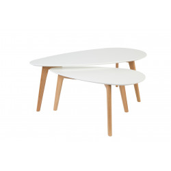 Tables basses scandinave DROP laquée blanche - set de 2