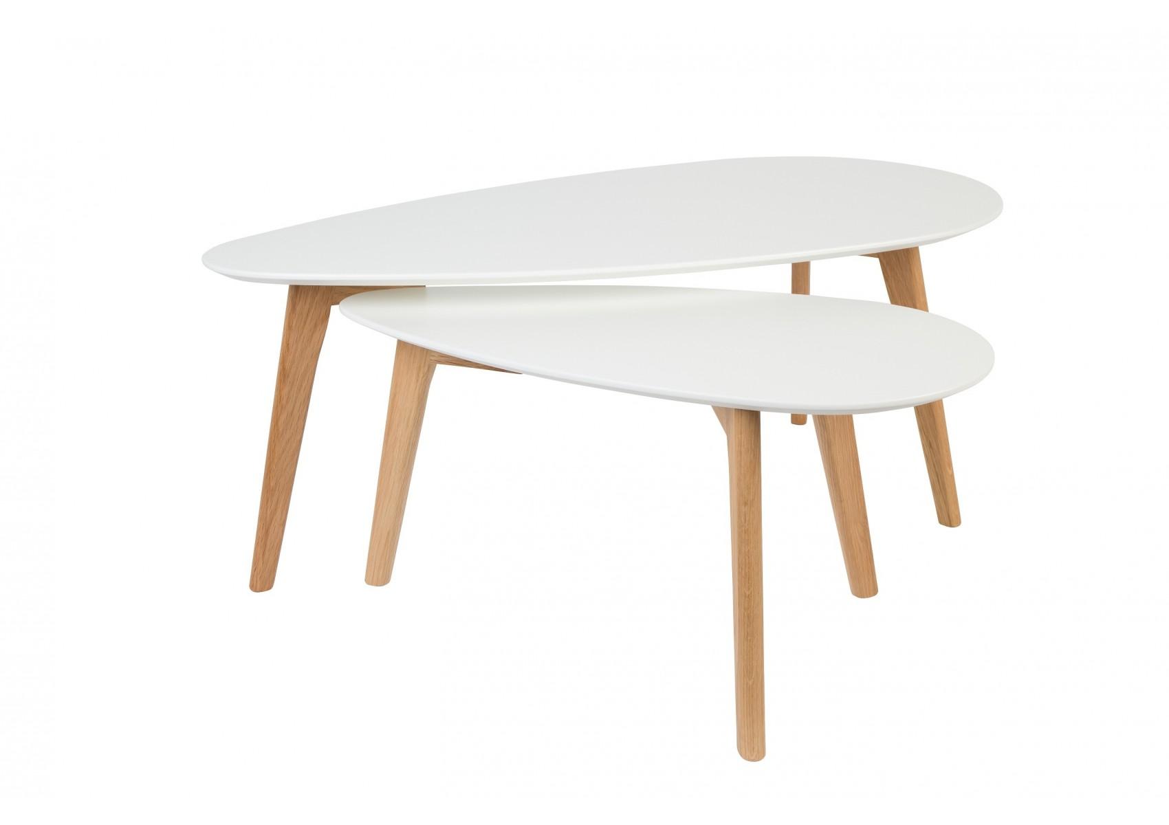 0234255898237 Tables basses scandinave DROP laquée blanche - set de 2 ...