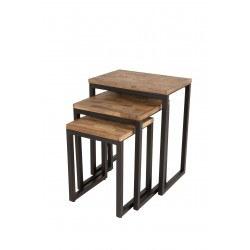Table basse gigogne SURI bois et métal - set de 3