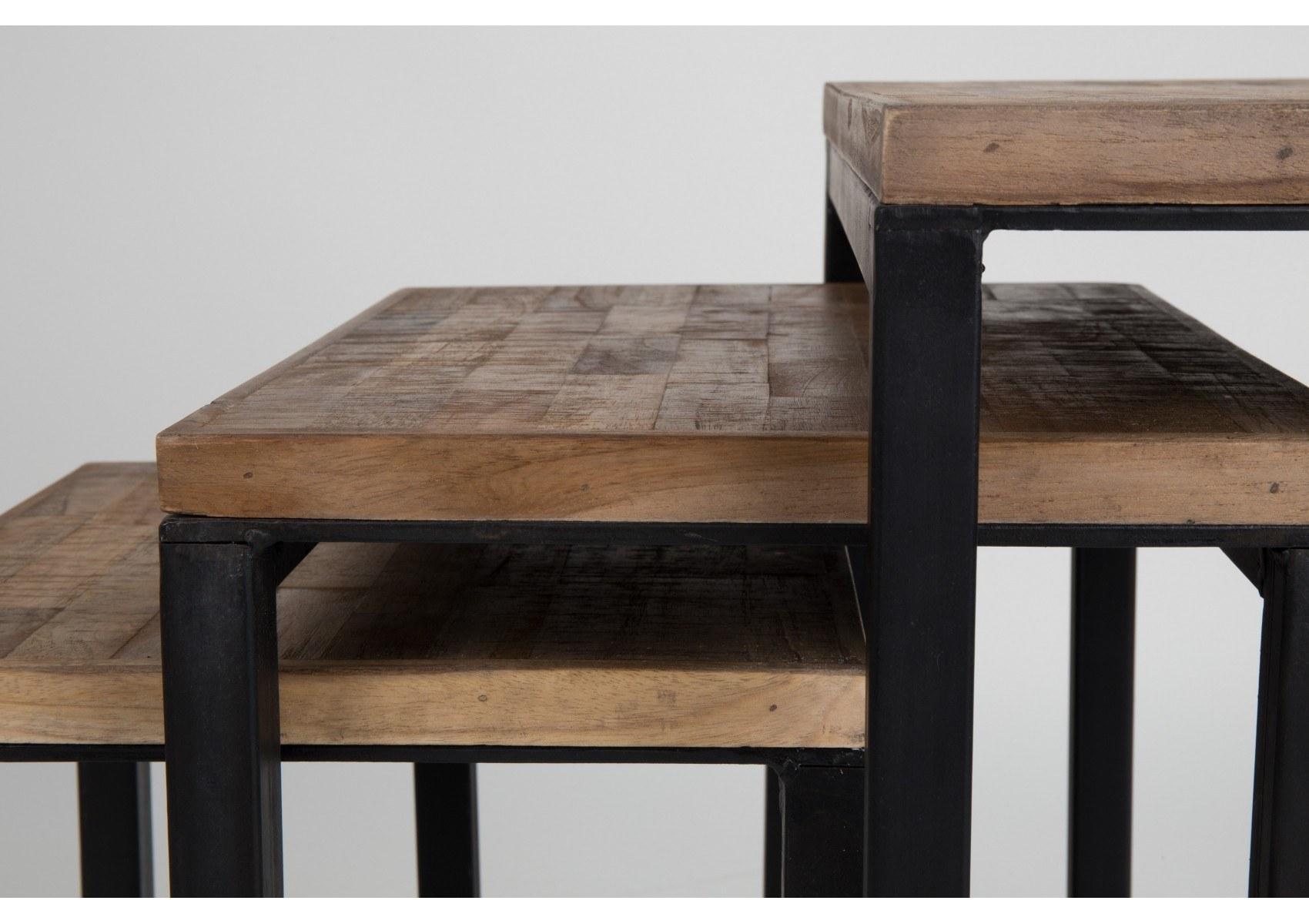 Table Basse Gigogne Suri Bois Et Métal Set De 3 Boite à Design