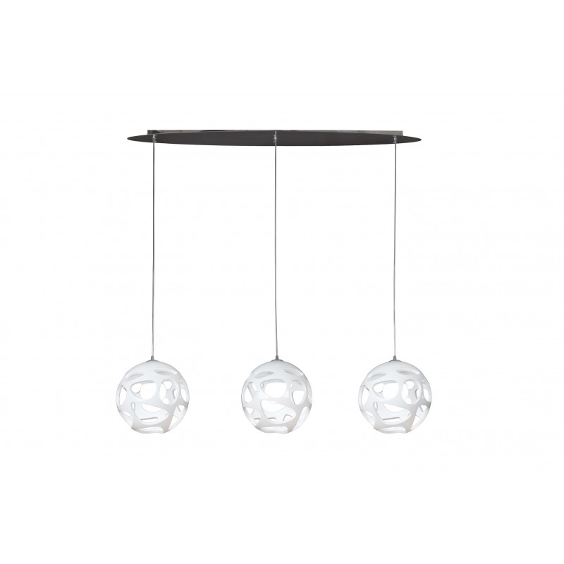 Suspension en ligne design Organica 3 lampes
