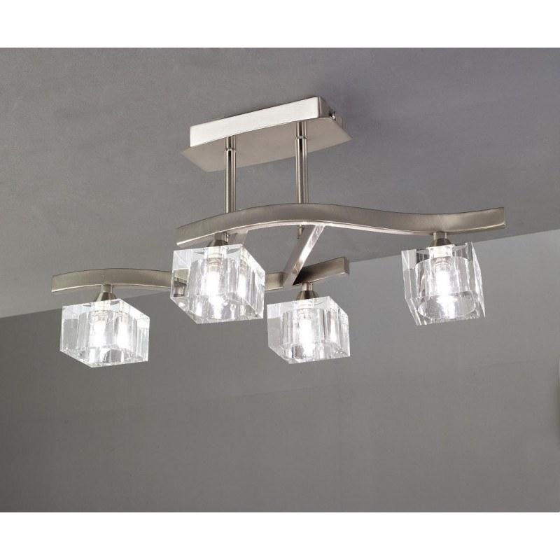 Semi plafonnier Cuadrax 4L verre optique Mantra