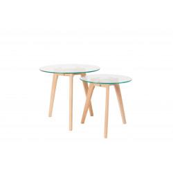 Tables basses scandinave BROR en verre et chêne massif - set de 2