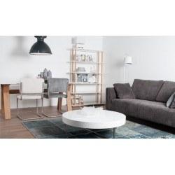 Table de repas ou bureau HIGH ON WOOD - blanche et pieds bois - deco zuiver