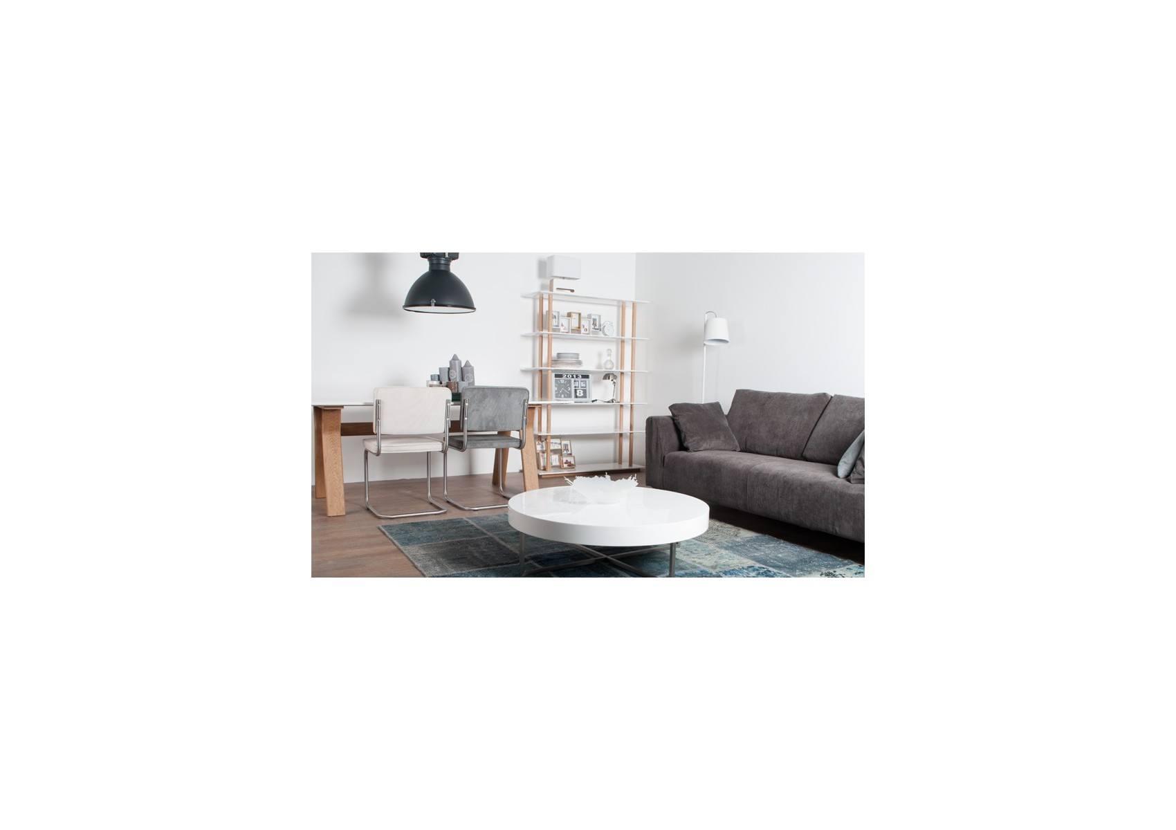 Table de repas ou bureau high on wood blanche et pieds bois