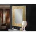 Miroir Aurora design verre biseauté au graphisme feuille d'or