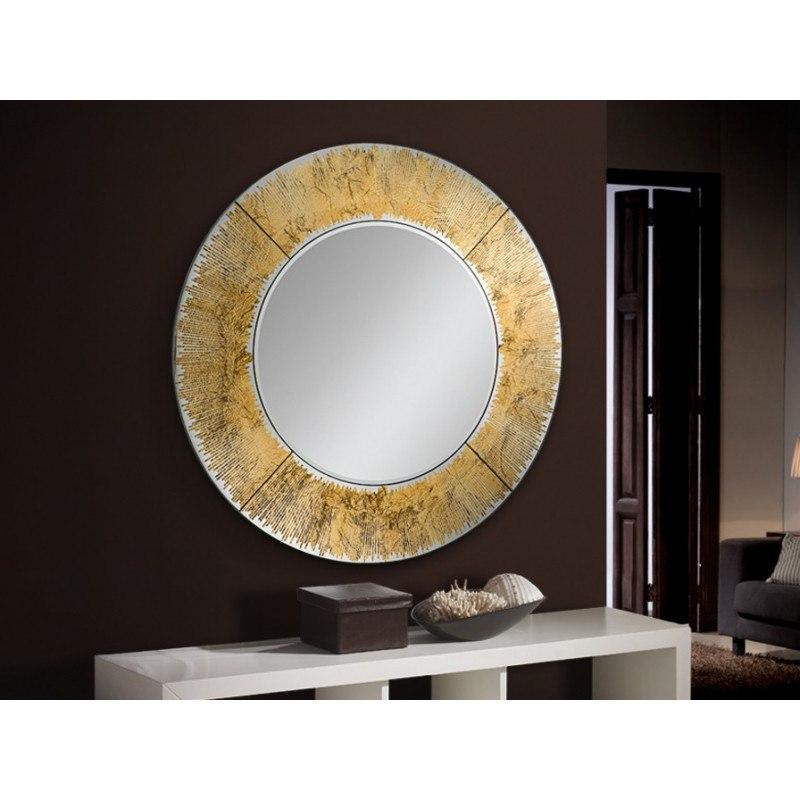 Miroir rond Aurora design verre biseauté au graphisme feuille d'or